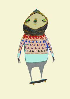 Skateboarding Sloth Print, $30