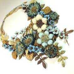 Купить Вальс Синей Долины. Колье из натуральной кожи - разноцветный, синий, голубой, светло-голубой