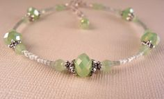 Ankle Bracelet Crystal Anklet Mint Crystal by bluerosebeadery