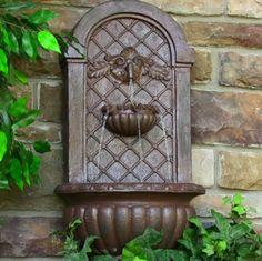 Solar Venetian Outdoor Wall Fountain Weathered Iron Garden Decor Water Feature