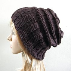 Hand knit slouchy hat wide band in dark chocolate by baboom, $44.00