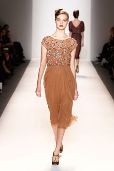 Lela Rose Look 35 (Fall 2012)   This dress would be perfect for Thanksgiving dinner.