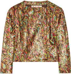 Cropped Metallic Jacquard Jacket - Lyst