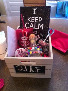 Perfect For 21st Birthdays Birthday Basket Presents Bff