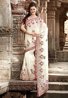 #Fabdeal White & red #net Saree