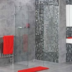 Bathroom:Astonishing Bathroom Walk In Shower With Glass Shower Area In Black Mosaic And Grey Ceramic Tiles Wall Deluxe Bathroom Decor Innovative Walk In Shower Design Ideas Glamorous Walk in Shower Ideas for Your Comfortable Bathroom Tile Walk In Shower, Walk In Shower Designs, Glass Shower, Grey Bathroom Tiles, Bathroom Images, Bathroom Wall Decor, Bathroom Ideas, Shower Ideas, Bad Wand