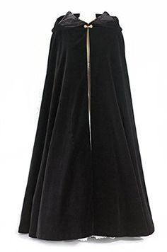 Black Wool Long Cloak with Hood ~ for Adults (Medium, Gold Clasp Closure)