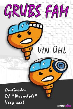VIN ÜHL alias DJ Wormhole - showed up somewhere at night. Not bitten yet. Octopus, Comic Art, Dj, Character Design, Cool Stuff, Night, Illustration, Pink, Fictional Characters