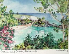 Ocean Club Beach Bermuda Art Print Nautical Watercolor Signed C. Holding 8 x 10