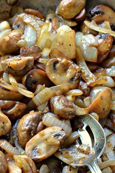Sauteed Mushrooms and Onions Amazing Sauteed Mushrooms and Onions<br> These easy Sauteed Mushrooms are an elegant but easy side. Serve over grilled steak, or along side beef tenderloin or grilled chicken, or simply eat by itself as a light dinner. Steak And Mushrooms, How To Cook Mushrooms, Mushroom And Onions, Sauteed Mushrooms, Stromboli, Onion Recipes, Mushroom Recipes, Side Recipes, Healthy Recipes