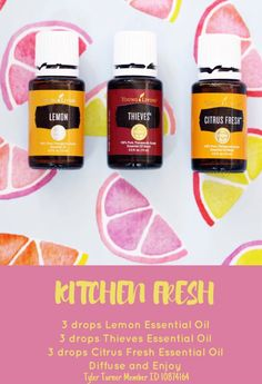 Kitchen Fresh diffuser blend young Living smells so clean!