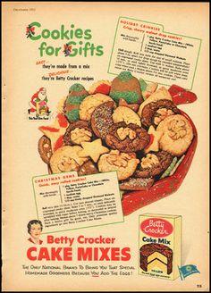 1952 Vintage ad for Betty Crocker Cake Mixes/Santa/Christmas Cookies