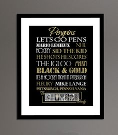Pittsburgh Penguins Print by SportingStandouts on Etsy, $40.00