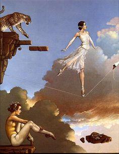 Michael Parkes Dance Of Secrets Ballet Tightrope Fantasy Surreal Art Print Contemporary Ballet, Magic Realism, Park Art, Art For Art Sake, Surreal Art, American Artists, Fantasy Art, Modern Art, Art Photography