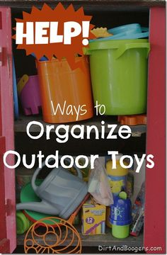Uggg....Organizing Outdoor Toys can be such a pain!  Some really creative solutions here!