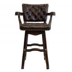 Helmsley Tufted Leather Old World Tuscan Style Bar Stool SHOP  Www.crownjewel.design