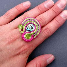 Ring Soutache Shell Abalone Paua Jade and by BlueButterflybizu