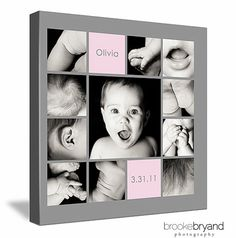 1 Year Old. Canvas Art. This would look great for Hudson in boy blue instead of pink . . . I love how it captures each feature: mouth, nose, ear, etc. Fun idea!