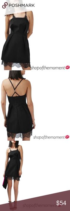 """👁🆕 Topshop ❉ Eyelash Lace Trim ❉ Mini Dress Topshop Eyelash Lace Trim Mini Dress Brand New with Tags in Manufacturer's Packaging  Garment is labeled size 10 [US 6] EUR 38/US 6/UK 10/Fits like a US 2-4  👁👁👁👁👁👁👁👁👁👁👁👁  Looped lace straps connect to an edgy metallic ring in back of this fashion forward LBD. Gorgeously trimmed in eyelash-fringe lace along the straps and thigh-skimming hem.  Approximate Measurements: Length: 37""""   👁👁👁👁👁👁👁👁👁👁👁👁  ✗ Drama ✗ Trades ⚡️Fast…"""