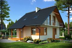 Zdjęcie projektu Prądnik DM-6143 KRF1722 Wooden House Design, Home Fashion, Bungalow, Tiny House, Gazebo, House Plans, Construction, Outdoor Structures, Cabin