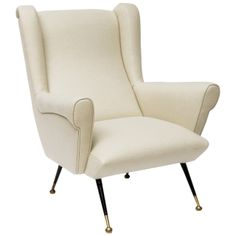 Reuph'd. Italian Lounge Chair in Belgian Linen ca.1950's | From a unique collection of antique and modern lounge chairs at http://www.1stdibs.com/furniture/seating/lounge-chairs/