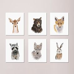 Woodland Nursery Print Set of 6 Prints, Wildlife Portraits, Forest Baby Animals included: Deer, Wolf, Raccoon, Fox, Bear, Rabbit - Different Sizes Available