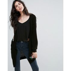 Vero Moda Floral Embroidered Cardigan (190.525 COP) ❤ liked on Polyvore featuring tops, cardigans, black, flower print top, embroidered cardigan, open front cardigan, long sleeve tops and lace trim cardigan