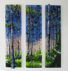 Tree Scape Triptych by Alice Benvie Gebhart: Art Glass Wall Sculpture available at www.artfulhome.com These three fused glass panels are grouped together to form a one-of-a-kind depiction of trees in nature. All the color in these pieces comes from layering cut glass then firing the glass in a kiln. These pieces have each been processed multiple times in the kiln, giving the work depth and dimension. Textural and gestural lines in gold and black have been fired into the glass surface.