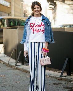 A inspiração de look da vez vem de @helenabordon! #LOFFama a calça com modelagem clássica combinada a peças fun como o moletom e as pulseiras coloridas. A jaqueta jeans nos ombros deixa tudo ainda mais cool.  via L'OFFICIEL BRASIL MAGAZINE INSTAGRAM - Fashion Campaigns  Haute Couture  Advertising  Editorial Photography  Magazine Cover Designs  Supermodels  Runway Models