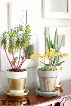 Terra Cotta Pots With Gold Leafing :: Hometalk