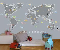 Cuarto de jugar con vinilo mapamundi de #stencilbarcelona
