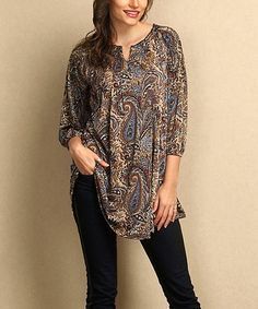 7b32f29ff74 Another great find on  zulily! Brown Paisley Notch Neck Tunic - Plus   zulilyfinds