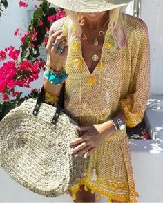 Women Vintage Print Dress 2019 Summer Ladies Casual Loose Short Vestidos Womens Lantern Sleeve Dresses Beach Party Tassel Robe Size S Color blue Vacation Dresses, Beach Dresses, Casual Dresses, Floral Dresses, Printed Dresses, Mini Dresses, Cheap Dresses, Dresses Dresses, Vintage Dresses