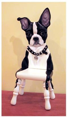 Boston terrier sculpture on stool. WOW
