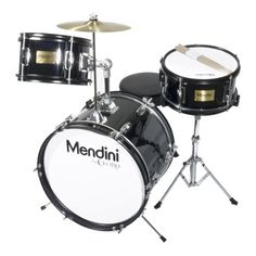 Mendini MJDS-3-BK 16-inch 3-Piece Black Junior Drum Set with Cymbals, Drumsticks and Adjustable Throne - Find Me The Cheapest Price: $119.99