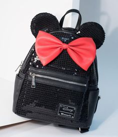 db40aaf5f26 Loungefly Black Sequin   Red Bow Leatherette Minnie Mouse Mini Backpack