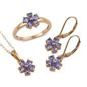 Tanzanite Ring, Lever Back Earrings and Pendant With Chain (20 in)