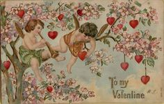 Vtg Valentine's Day Cupid Postcard Victorian Romance Love Embossed C1910