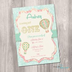 Items similar to hot air balloon baby shower invitation girl, vintage hot air balloon invitation, up up and away, digital, printable invitation on Etsy Invitaciones Shabby Chic, Shabby Chic Invitations, Baby Shower Invitaciones, Vintage Invitations, Invitation Baby Shower, Balloon Invitation, Invitation Ideas, Invitation Cards, Vintage Birthday Parties