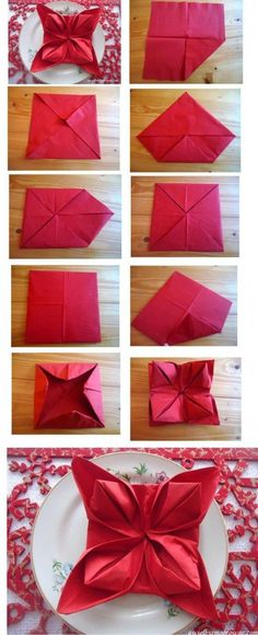 perfect for Christmas evening. Cute folded napkins - 35 Beautiful Examples of Napkin Folding