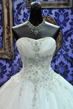 Stunning Custom Made Crystal Adorned Bridal Ball Gown Wedding Dress. $2,200.00, via Etsy.