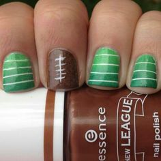 @Kayla Barkett Barkett Barkett Mize Football nail idea!