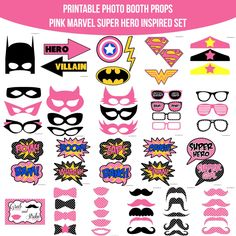 Instant Download Pink Marvel Super Girl Hero Inspired Printable Photo Booth Prop Set