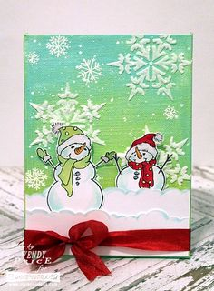 Created by Wendy Price with Stampendous Build a Snowman set, and Dreamweaver Gothic Snowflake, Embossing Paste, and glitter! #cre8time #Stampendous #DWStencils