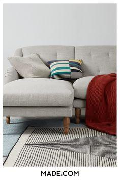 Ariana Left Hand Facing Chaise End Corner Sofa, Chic Grey White Wooden Floor, Sofa Seat Cushions, Scandinavian Interior Design, Corner Sofa, Sofa Furniture, Living Room Designs, Sofa Ideas, Deep, House Ideas