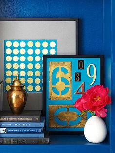 Budget Art; Turn ordinary items into gilded art. Arrange gold seal stickers intended for envelopes and official documents in rows on solid-colored paper to create easy modern art. Or group house numbers -- both old and new -- inside a picture frame.