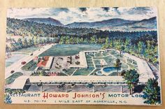 Asheville North Carolina~Howard Johnson's Motor Lodge & Restaurant~1955 Postcard  | eBay