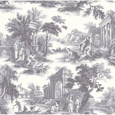Villandry Charcoal Wallpaper 991003 by Cole and Son Wallpaper Charcoal Wallpaper, Toile Wallpaper, Wallpaper Roll, Pattern Wallpaper, Wallpaper Ideas, Wallpaper Borders, Nursery Wallpaper, Wallpaper Designs, Purple Wallpaper
