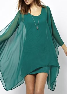 Stylish Hollow Design Round Neck High Low Dress Green | Rosewe.com