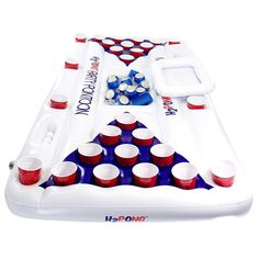 Beer Pong Table Inflatable Pool Float Blow Up Cooler Party Game Summer Raft New | eBay